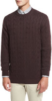 Ermenegildo Zegna Cable-Knit Cashmere Sweater, Burgundy