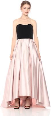 Betsy & Adam Women's Strapless Velvet and Satin Ball Gown