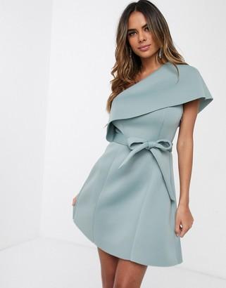 Asos Design DESIGN one shoulder crop top belted a-line mini skater dress-Blue