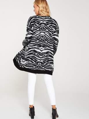 Wallis Zebra Fluffy Cardigan - Black/White