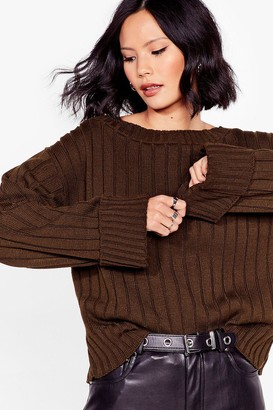 Nasty Gal Womens That's the Cuff Ribbed Knit Sweater - Khaki