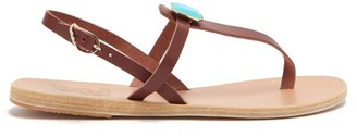 Ancient Greek Sandals Lito Turquoise-embellished Leather T-strap Sandals - Brown Multi