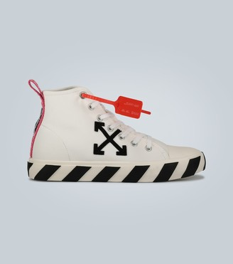 Off-White Mid-top textile-leather sneakers