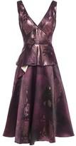 Marchesa Metallic Jacquard Peplum Midi Dress