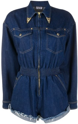 Versace Denim Decorative Collar Playsuit
