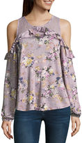Almost Famous Long Sleeve Y Neck Satin Floral Blouse-Juniors