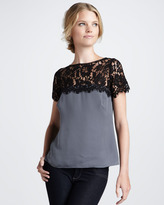 Milly Mila Lace-Top Blouse, Gray