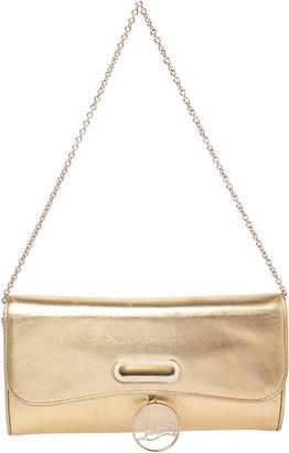 Christian Louboutin Metallic Gold Leather Riviera Clutch Bag