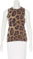 Magaschoni Cashmere Leopard Print Top