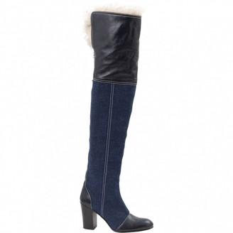Acne Studios Navy Cloth Boots