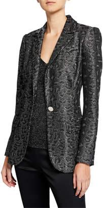 St. John Jacquard Animal-Print Sequin Jacket