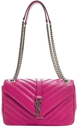 Saint Laurent CollAge monogramme Purple Leather Handbags