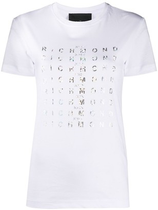 John Richmond short-sleeved metallic logo T-shirt