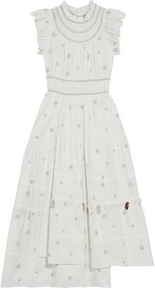 Ulla Johnson Zemora Asymmetric Tiered Embellished Cotton-voile Midi Dress