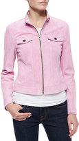 Bagatelle Suede Jean-Style Jacket, Pink