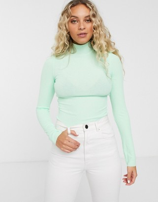 Monki high neck jersey top in mint green