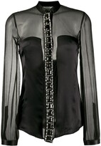 Gianfranco Ferre Pre Owned embellished sheer panelled silk shirt