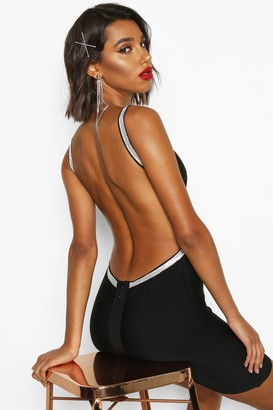 boohoo Bandage Diamante Backless Mini Dress