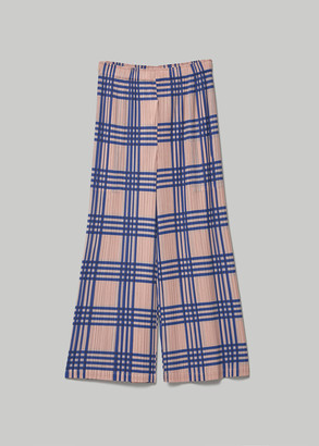 Pleats Please Issey Miyake Women's Wide Pant With Thin Check in Blue Black Check Size 2