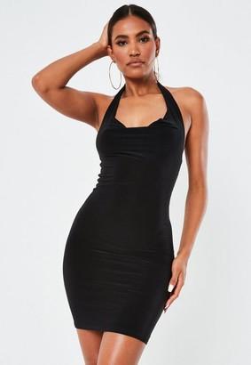 Missguided Black Slinky Halterneck Mini Dress