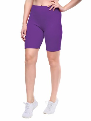 Love My Fashions Womens Seamless Plus Size Plain Elasticated Over-Knee Cycling Shorts Ultra Soft Non-Slip Knickers Ladies Stretch Active Yoga Pants for Gym Sports Outdoor Activities Purple