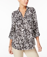 Charter Club Petite Floral-Print Blouse, Created for Macy's