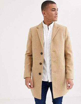 Tom Tailor smart overcoat in wool light camel-Tan