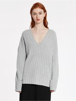 CK Calvin Klein Wool Cashmere Ribbed Sweater