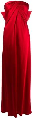 Alberta Ferretti bow satin strapless gown