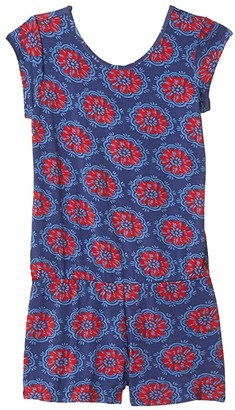 Hatley Painted Poppies Faux Dress Romper (Toddler/Little Kids/Big Kids) (Blue) Girl's Jumpsuit & Rompers One Piece