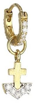 Jude Frances Petites 18K Yellow Gold Petite Diamond Anchor Drop Earring Charm