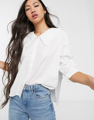 Monki oversized blouse with oversized collar in white
