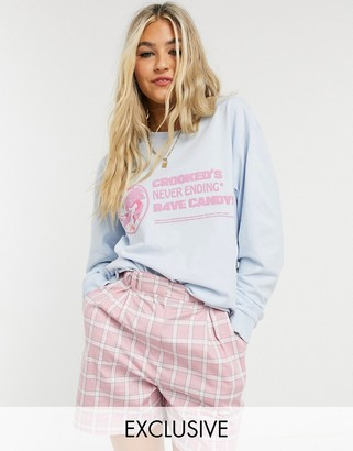 Crooked Tongues oversized longsleeve t-shirt with rave candy print in blue