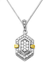 Lord & Taylor Diamond Pendant in Sterling Silver with 14K Yellow Gold