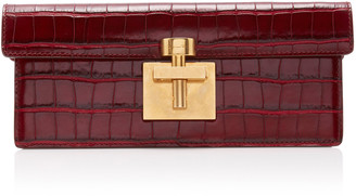 Oscar de la Renta Alibi Croc-Embossed Leather Clutch