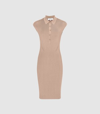 Reiss Hailey - Button Collar Knitted Dress in Nude