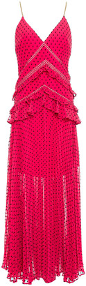 Self-Portrait Crochet-trimmed Ruffled Fil Coupe Georgette Maxi Dress