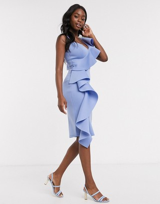Lipsy x Abbey Clancy ruffle one shoulder midi dress in blue