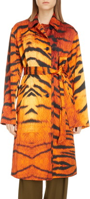 Dries Van Noten Raia Tiger Stripe Trench Coat
