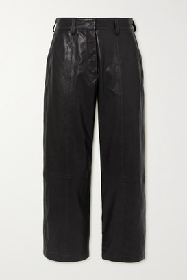 Anine Bing Leah Cropped Leather Straight-leg Pants - Black