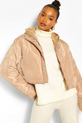 boohoo Cropped Panelled Hooded Puffer
