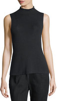 Joan Vass Ribbed Mock-Neck Sleeveless Sweater