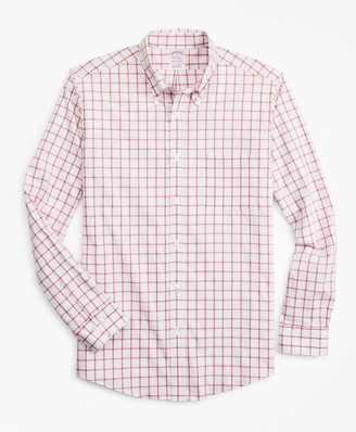 Brooks Brothers Madison Classic-Fit Sport Shirt, Performance Series with COOLMAX, Windowpane