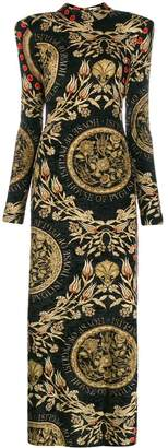 Fausto Puglisi padded shoulders printed dress