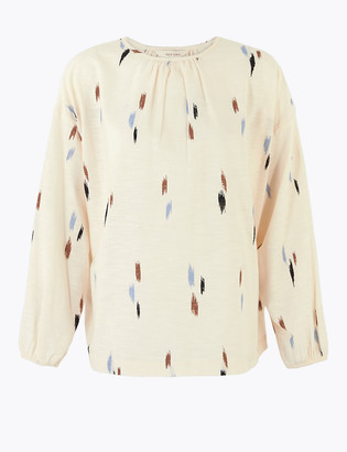Marks and Spencer Pure Cotton Printed Blouson Sleeve Blouse
