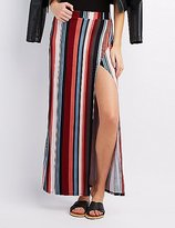 Charlotte Russe Striped Wrap Slit Maxi Skirt