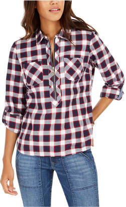 Tommy Hilfiger Cotton Plaid Zip-Up Popover Shirt