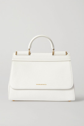 Dolce & Gabbana Sicily Small Textured-leather Tote - White