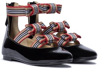 BURBERRY KIDS Icon Stripe patent leather ballet flats