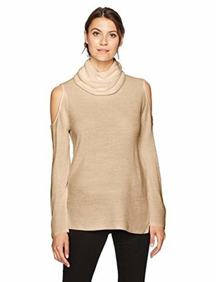 Sag Harbor Women's Long Sleeve Ribbed Cold Shoulder Cowl Neck Pullover